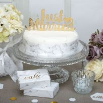 Scripted Marble Just Married Cake Topper